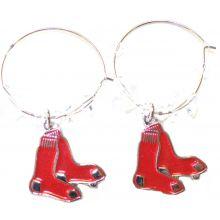 Boston Red Sox Beaded Hoop Dangle Earrings