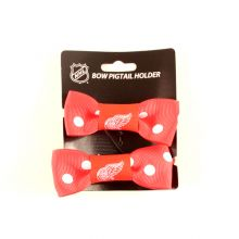 Detroit Red Wings Bow Pigtail Holders
