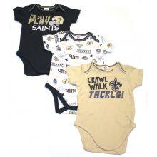 New Orleans Saints 3 Piece Bodysuit Set 0-3 Months