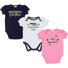 Seattle Seahawks  2018 Girls 3 pk. Bodysuits 6-12 Months