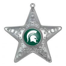 """Michigan State Spartans 4"""" Silver Star Ornament"""