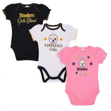 Pittsburgh Steelers 2018 Girls 3 pk. Bodysuits 0-3 Months