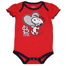 MLB Licensed St. Louis Cardinals Girls Snoopy Bodysuit Creeper Crawler (18 Months)