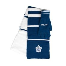 Toronto Maple Leafs Striped Scarf and Glove Set