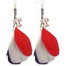 Texas Rangers Fan Feather Earrings