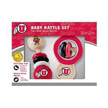 Utah Utes Wooden Baby Rattle Set