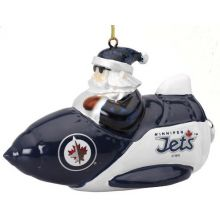 Winnipeg Jets Santa on a Rocket Ornament
