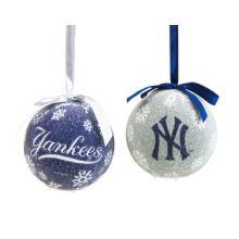 Yankees LED Ball Ornaments Set of 2