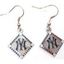 New York Yankees Diamond Shaped Dangle Earrings